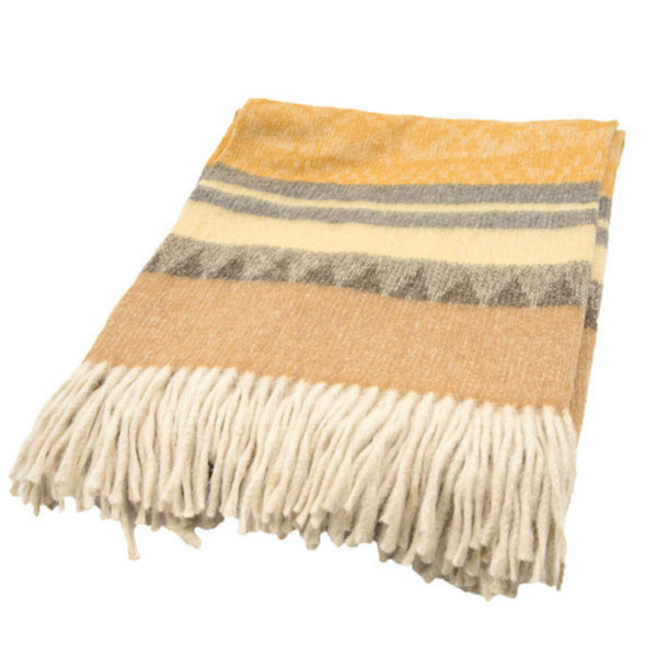 Peruvian Alpaca Throw Blanket - Yellow Oak