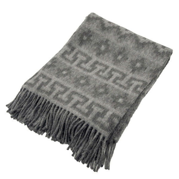 Peruvian Alpaca Throw Blanket - Inca Charcoal