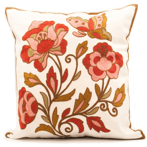Autumn Flowers Embroidered Pillow Cover