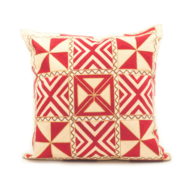 Trikona Embroidered Throw Pillow Cover