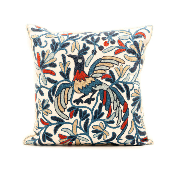Paradise Bird Embroidered Throw Pillow Cover