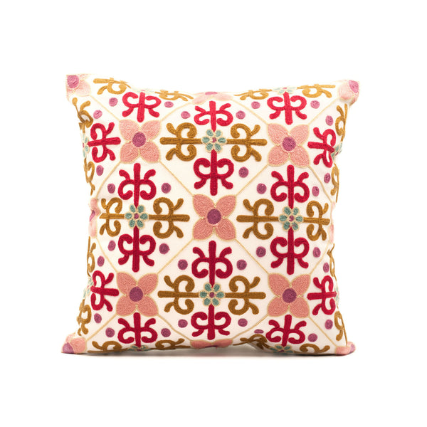 Wildflower Embroidered Throw Pillow Cover