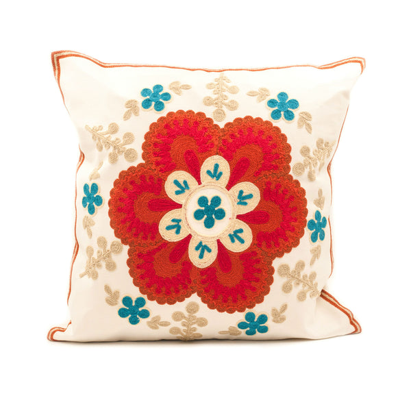 April Flower Embroidered Pillow Cover
