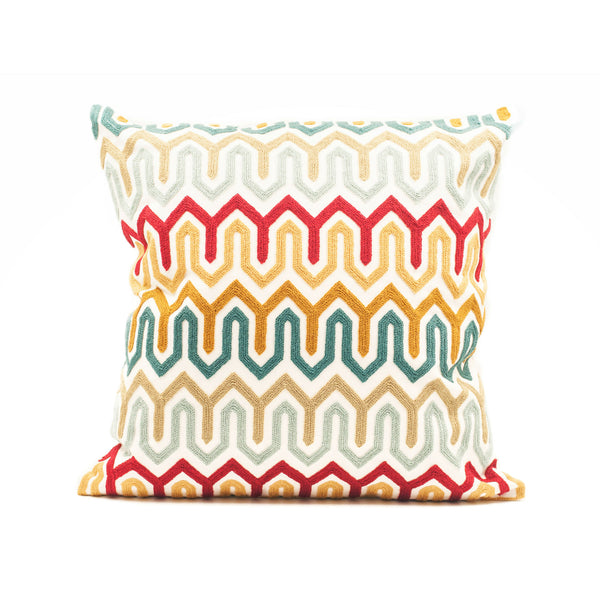 Waves Embroidered Throw Pillow Cover