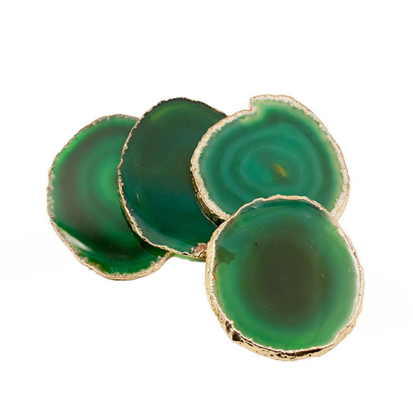 Gold Plated Brazilian Agate Coaster Set of 4 - Green