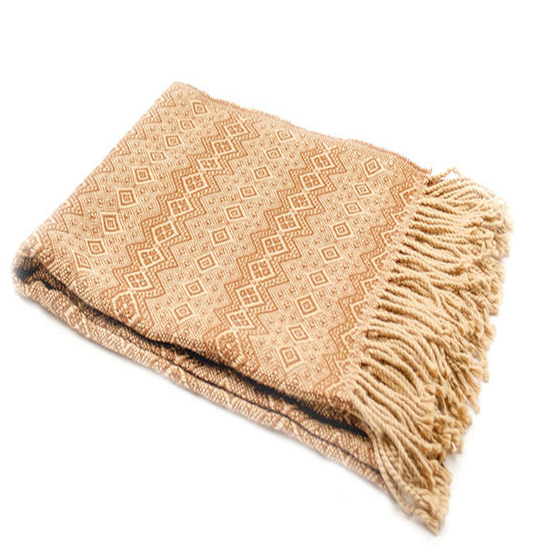 Peruvian Alpaca Blend Throw Blanket - Tan