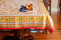Red and Yellow Hand Block Table Cloth Floral