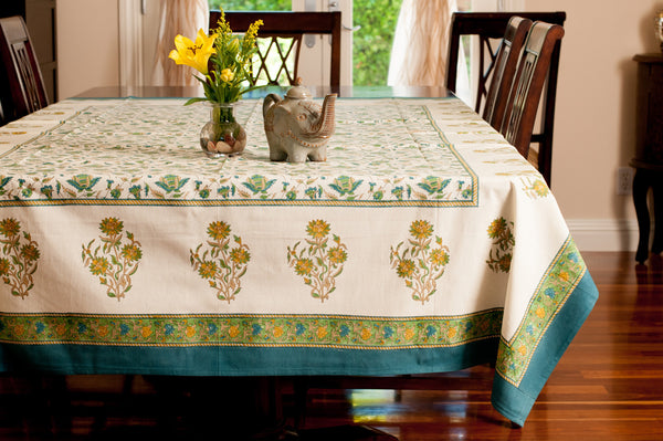 Spring Bloom Hand Block Printed Table Cloth