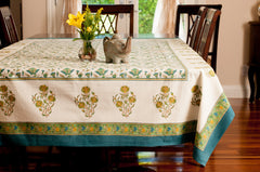Green Block Print Table Cloth Floral