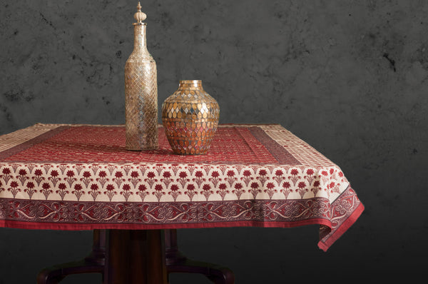 Red Poppy Block Printed Table Cloth