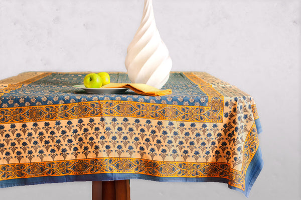 Blue Poppy Block Printed Table Cloth