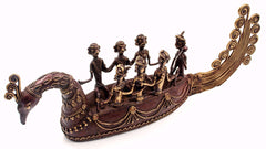 Ethnic Dhokra Art Sculpture - Large Peacock Boat