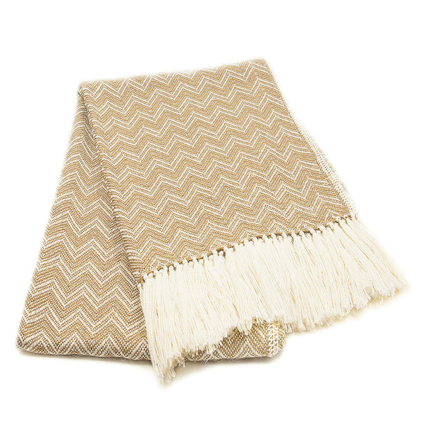 Peruvian Alpaca Blend Throw Blanket - Beige Herringbone