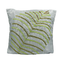 Gray Sequin Leaf Throw Pillow Cover