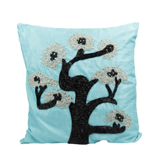 Blue Crystal Tree Throw Pillow Cover