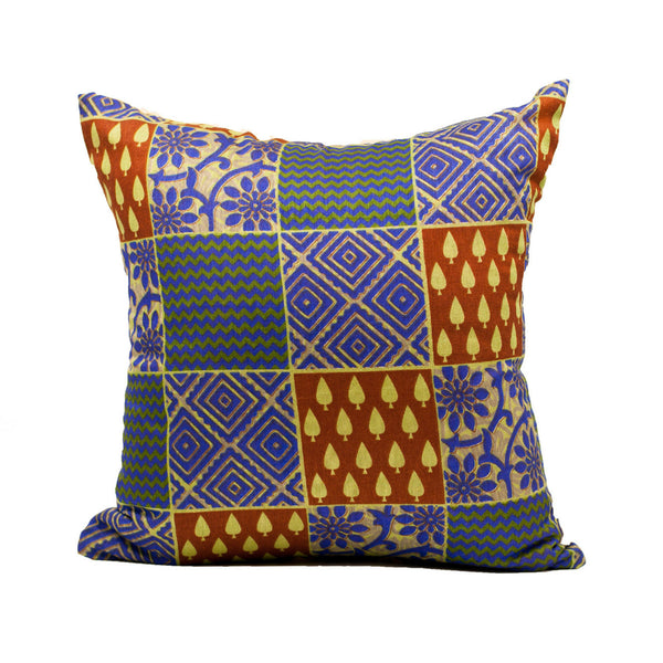 Blue Printed Jute Silk Pillow Cover