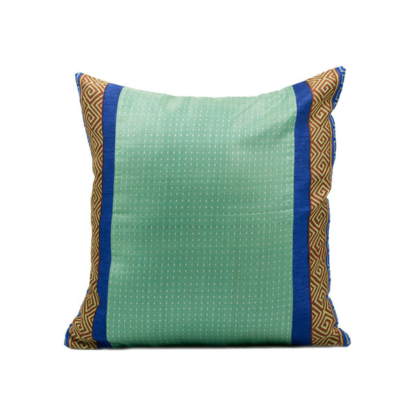 Blue Handwoven Jute Silk Pillow Cover