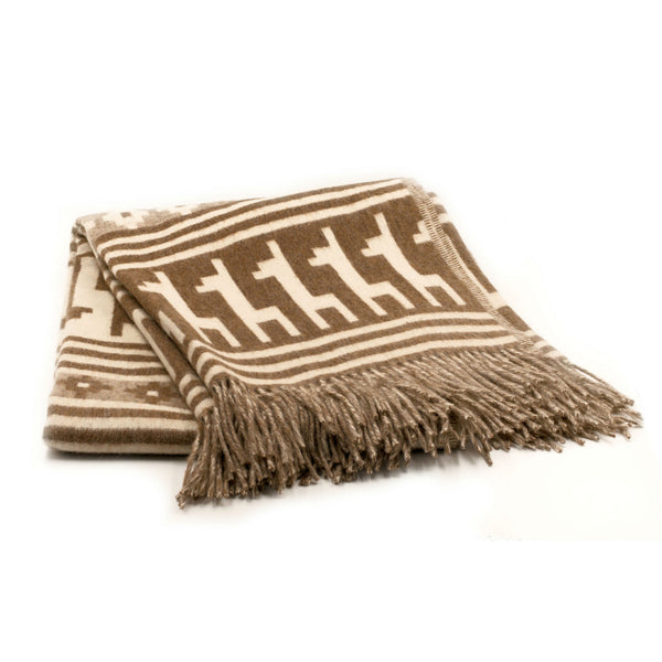 Peruvian Alpaca Throw Blanket - Llamitas Brown