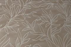 Drapery Fabric Swatch - Beige Embroidered Scroll Leaf