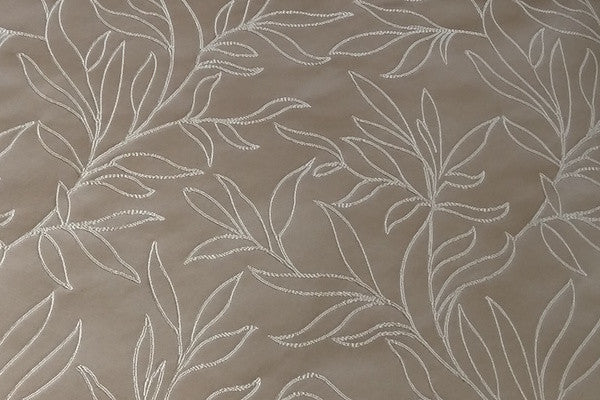 Custom Drapery - Beige Embroidered Scroll Leaf