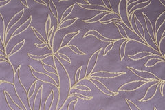 Custom Drapery - Purple Embroidered Scroll Leaf