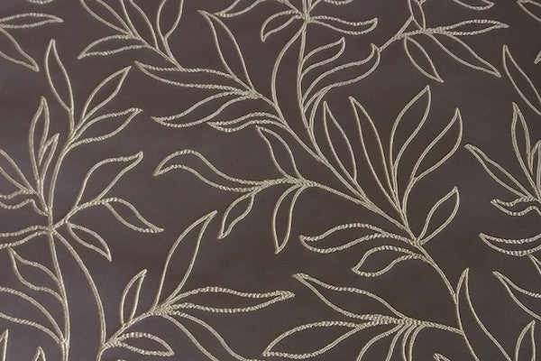 Custom Drapery - Brown Embroidered Scroll Leaf