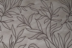 Custom Drapery - Gray Embroidered Scroll Leaf