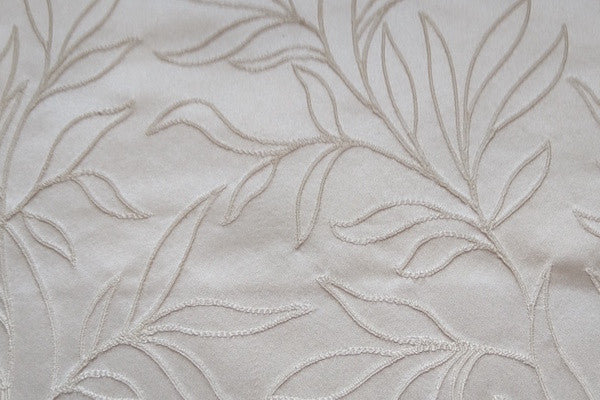 Custom Drapery - Ivory Embroidered Scroll Leaf