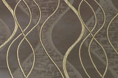 Custom Drapery - Brown Embroidered Waves
