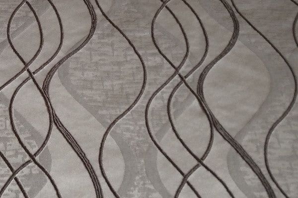 Custom Drapery - Gray Embroidered Waves
