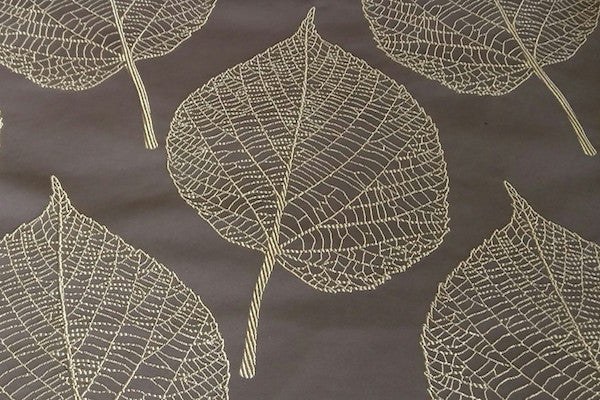 Custom Drapery - Chocolate Brown Embroidered Botanica