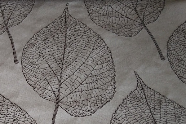 Custom Drapery - Gray Embroidered Botanica