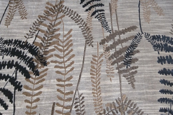 Custom Drapery - Textured Ferns Charcoal/Brown