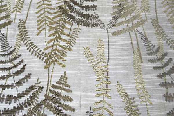 Custom Drapery - Textured Ferns Green/Brown