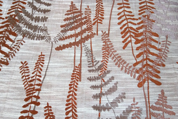 Custom Drapery - Textured Ferns Rust