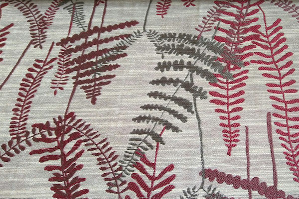 Custom Drapery - Textured Ferns Red/Gray