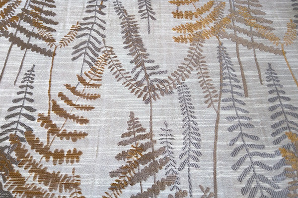 Custom Drapery - Textured Ferns Orange/Brown