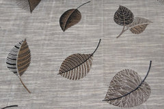 Custom Drapery - Textured Scattered Leaves Charcoal/Brown