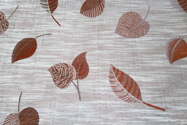 Custom Drapery - Textured Scattered Leaves Rust