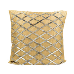 Gold Jaali Metallic Beaded Throw Pillow Cover