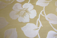 Drapery Fabric Swatch - Yellow Faux Silk Damask