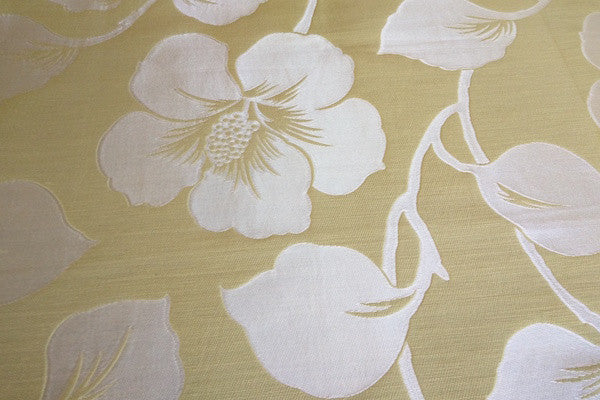 Custom Drapery - Yellow Faux Silk Damask