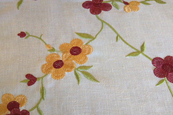 Custom Drapery - Embroidered Spring Flowers