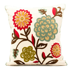 Island Fiore Embroidered Throw Pillow Cover
