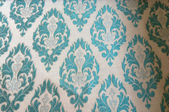 Custom Drapery -  Turquoise Floral Brocade