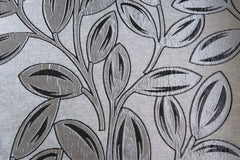 Custom Drapery -  Silver Leaves Brocade