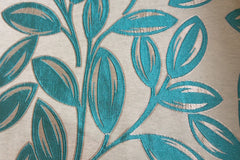 Custom Drapery -  Turquoise Leaves Brocade