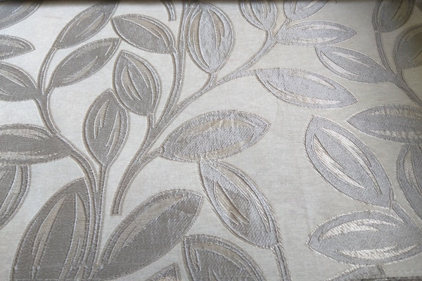 Custom Drapery -  Ivory Leaves Brocade