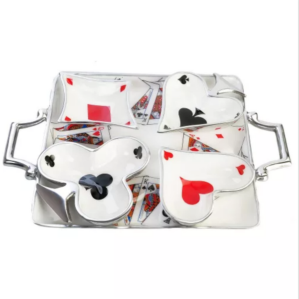 Queen of Hearts Serving Set - Tray with four Bowls
