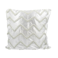 Silver Waves Beaded Throw Pillow Cover